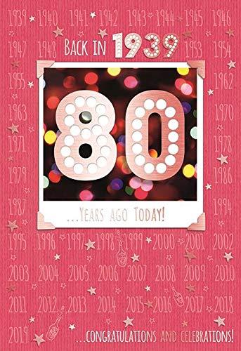 80e 80 Verjaardagskaart 1939 Jaar Je bent geboren Vrouwelijk Jaar Verschillende Feiten Binnen