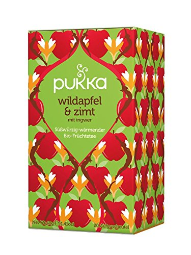 PUKKA Bio Wildapfel-Zimt Tee, 1er Pack (20 x 2,0 g Teebeutel) - BIO
