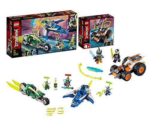 Lego Ninjago Set 71709 Jay and Lloyds Power Speedster with Aeroplane and Bicycle Racers + 71706 Coles Speeder 4 Years and Up