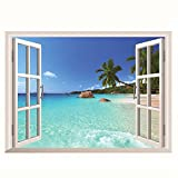 INNI 3D Hawaii Holiday Sea View Beach Window View Decal Wall Sticker