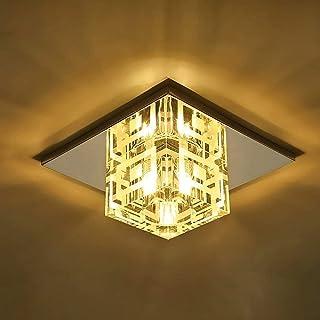 Ksovv Crystal Plafonnier Luminaire LED Contemporain Flush Suspendu Lanterne Suspenstal Argent Cristal En Verre Métal Pende...