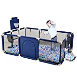 ROLENUNE Baby Playpen Portable Activity Center Play Yard Infant Mesh Basketball Hoop Fence Indoor Outdoor Safety Barrier Balls Pit Base Toddlers Game Toy Fence for Kids Crawling Playground (Blue)