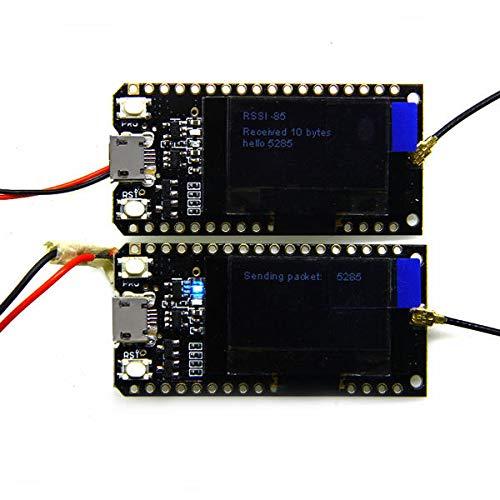 LORA32 Smart Modul ESP32 LoRa OLED 2,4 cm (0,96 Zoll), blaues Display, Bluetooth, WLAN, ESP-32, Entwicklungsplatine mit Antenne, 2 Stück