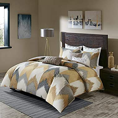 Ink+Ivy Alpine King/Cal King Size Bed Comforter Set - Yellow, Taupe, Grey, Ivory, Pieced Chevron – 3 Pieces Bedding Sets – 100% Cotton Bedroom Comforters
