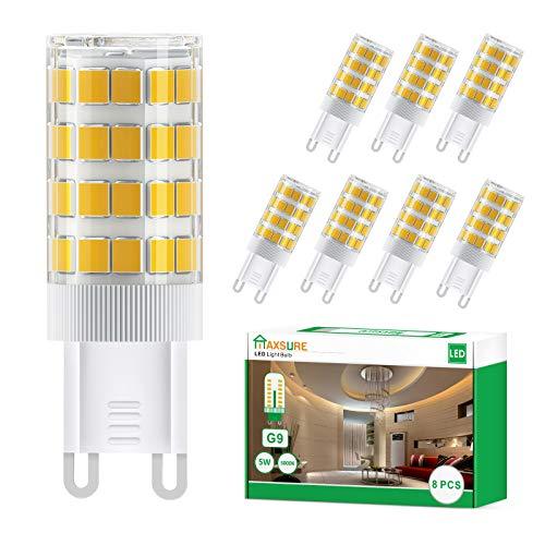 Maxsure Bombilla LED G9 5W, 51 LEDs, 550LM, Equivalente a la Bombilla Halógena de 50W, Blanco Cálido 3000K, Sin Estroboscópico, No Regurable, Omnidirectional, Iluminación para hogar, 8 Unidades