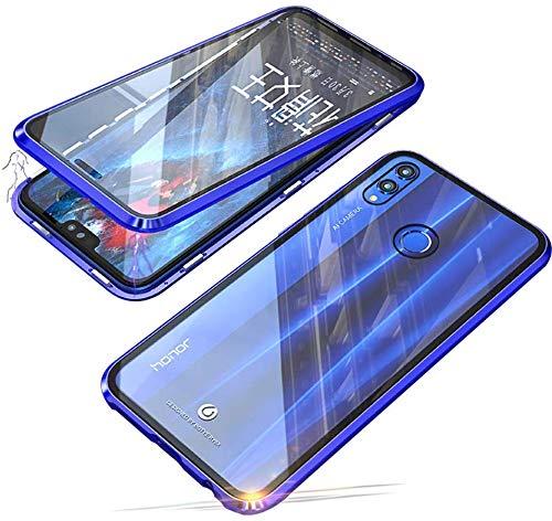 Kompatibel für Huawei Honor 8X / Honor View 10 Lite Hülle, 360 Grad Vorne & Hinten Gehärtetes Glas Transparente Hülle Cover, Stark Magnetische Adsorption Metallrahmen Handyhülle Hülle