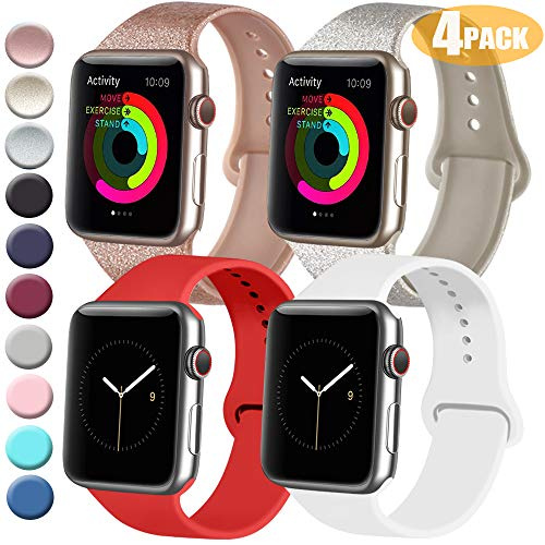 Tobfit 4 Pack Sport Bands Compatible with Apple Watch Band 38mm 42mm 40mm 44mm, Compatible with Watch Series 5/4/3/2/1(Glitter Rose Gold/Glitter Champagne/Red Orange/White, 42mm/44mm M/L)