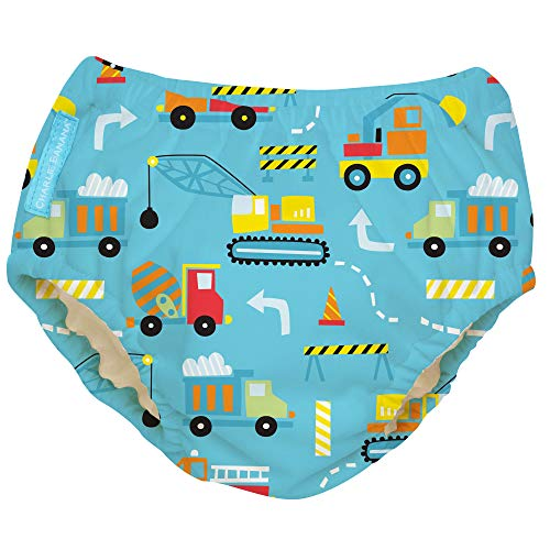 Charlie Banana Baby Reusable and Washable Swim Diaper for Boys or Girls, Construction, X-Large