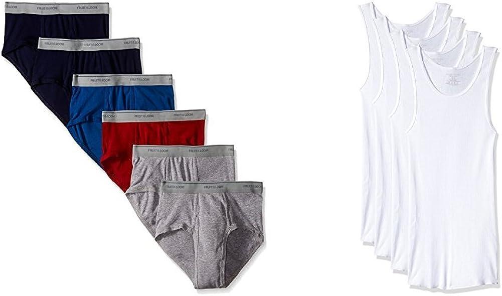 Fuit of the Loom Men's Fashion Brief (6) & Premium A-shirt (4) Bundle