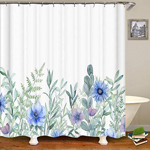 Fullfun Duschvorhang mit blauen Blumen & hellgrünen Pflanzen, 180,3 x 200,7 cm, waschbarer Stoff, blaue Blumen, 180 x 200 cm