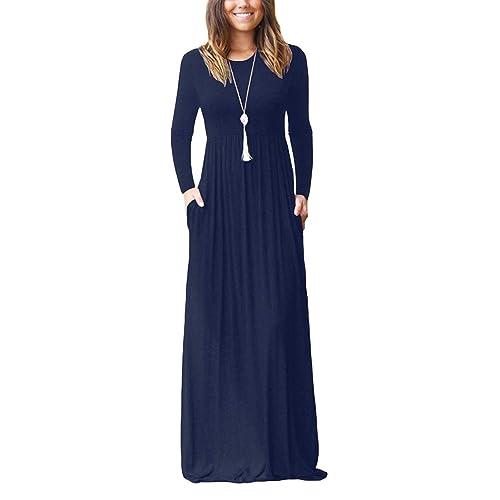 3fc65f2dcee BISHUIGE Womens L-4XL Long Sleeve Loose Plain Casual Plus Size Dresses Long  Maxi Dress