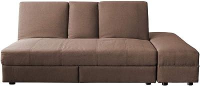 アイリスプラザ ソファベッド 2人掛け テーブル付き 引出し収納 お昼寝 幅140㎝ ブラウン DTSB-1810 140×84×75cm