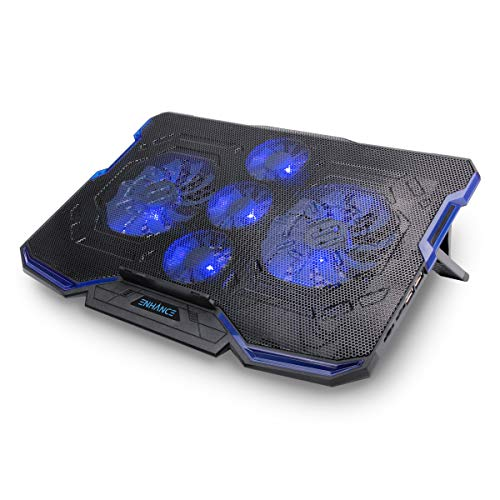 ENHANCE Cryogen Work Laptop Cooling Pad - Fits up to 17 inch Computer- Adjustable Laptop Cooling Stand with 5 Quiet Cooler Fans and 2 USB Ports. Perfect for Laptops Remote Working