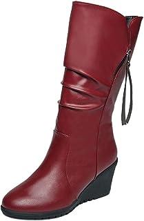 Xiangdanful Dames halfhoge laarzen sleehak plateaulaarzen solide ritssluiting aan de zijkant hoge hakken kunstleer winterl...