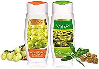 Amla with Shikakai & Reetha Shampoo and Olive Conditioner - ? Hair Fall & Damage Control Shampoo - ? ALL Natural - ? Paraben Free - ? Suitable for All Hair Types - Each Pack of 110ml - Vaadi Herbals