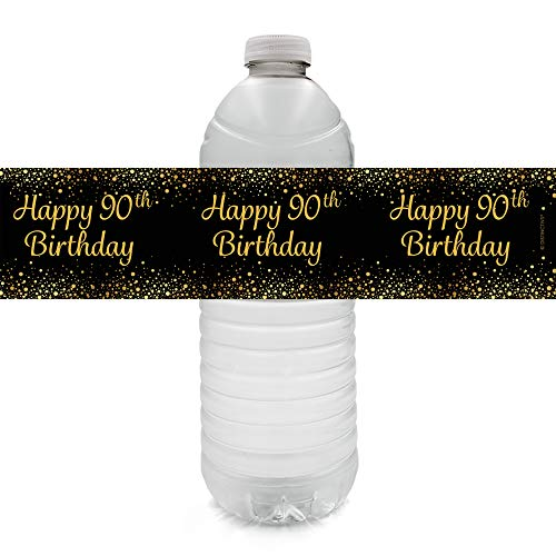 Black and Gold 90th Birthday Party Water Bottle Labels (24 Count)