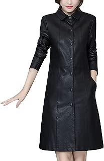 DISSA P8103 Women Faux Leather Long Overcoat Slim Coat Leather Jacket