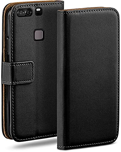moex Klapphülle kompatibel mit Huawei P9 Plus Hülle klappbar, Handyhülle mit Kartenfach, 360 Grad Flip Hülle, Vegan Leder Handytasche, Schwarz