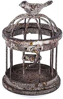 Rusty Small Iron Bird Cage with Bird on Top
