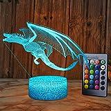 XEUYUTR Dragon Lighting Decor Nette Nachtlicht Schlafzimmer Tischlampe 16 Farben Party Dekoration...
