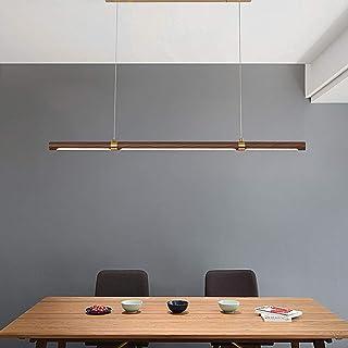 ACHNC LED Lámpara Colgante Salon Madera, Larga Lámpara Colgante Comedor Moderna Luz de Techo Para Oficina Lámpara de Araña Ajustable Lámpara de Suspensión Para Sala de Reuniones Sala de Estudio, Nogal