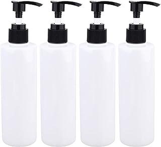 Solustre 4Pcs 250ml Plastic Empty Pump Bottles Refillable Soap Dispenser Bottles Containers for Cosmetic Shampoo Lotion Liquid Hand Soap (White)
