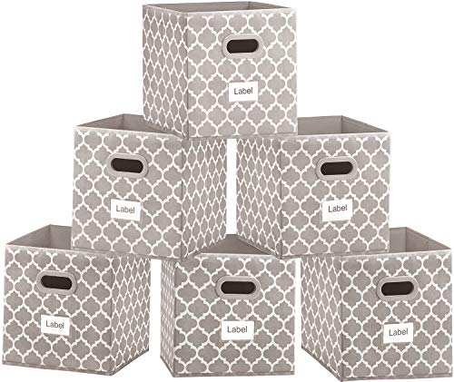 Foldable Cloth Storage Bins, 11x11 Fabric Cube Storage Baskets Containers, Closet Organizer Shelf Nursery Drawer for Clothes,Home,Office, Bedroom Set of 6 Light Coffee with White lantern Printing