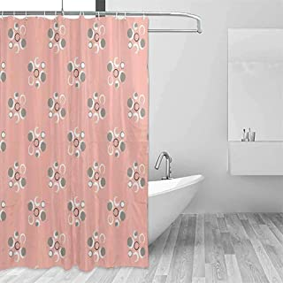 Coral Decor Rustic Shower Curtain Retro Brushstroke Circle Flowers with Several Fragrant Separate Rounds Art Paint Farmhouse Bathroom Decor W72 x L78 Inch Pink Grey