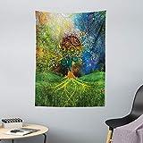 ABAKUHAUS Etnico Tappeto da Parete e Copriletto, Tema Madre Terra, Lavabile e Senza Colori sbiaditi, 110 x 150 cm, Verde Blu