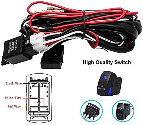 Verkabelungssatz für Nebelscheinwerfer - 12V / 24V Universal Auto LED-Arbeitsscheinwerfer Bar Kabelbaum Nebelscheinwerfer Ein/Aus-Schalter - Sicherungsrelais-Kit