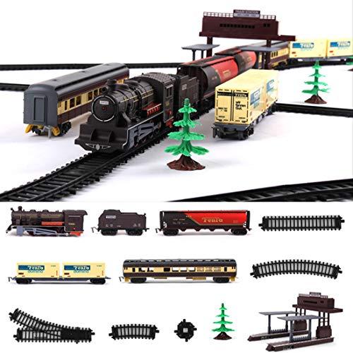 K9CK Modelleisenbahn Lokomotive, 54-teilige Batterieantrieb Bahn Reisezug Set Großes Zuges mit Licht- und Sound - Spur H0
