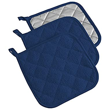 DII Cotton Terry Pot Holders, 7x7 Set of 3, Heat Resistant and Machine Washable Hot Pads for Kitchen Cooking and Baking-Nautical Blue