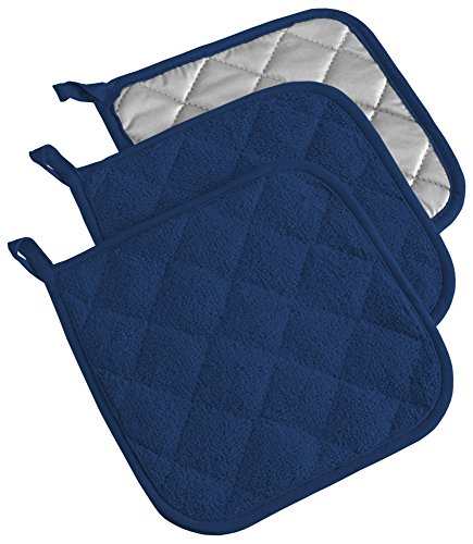 DII 100% Cotton, Quilted Terry Oven Set Machine Washable, Heat Resistant with Hanging Loop, Potholder, Nautical Blue 3 Count