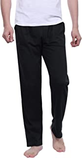 Nieery Mens Pyjama Bottoms 100% Cotton, Elasticated Waist Solid Lounge Pants PJS Trousers with Pockets