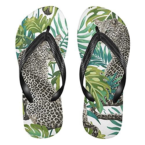 Linomo Chanclas para hombre y mujer, con diseño de leopardo, palmera, sandalias informales, sandalias de verano para la playa, color Multicolor, talla 32/33 EU