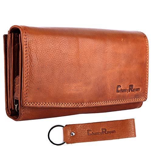 Chunkyrayan Damen Portemonnaie Echtleder XXL RFID Schutz inklusive Leder Schlüsselanhänger P GB-7 Brown 1