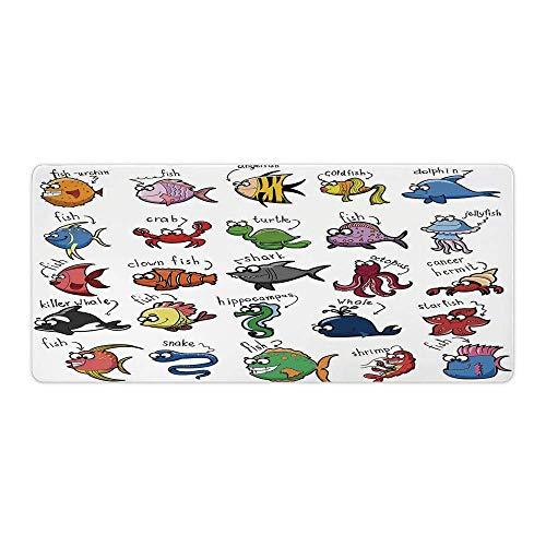 Professionelles Gaming-Mauspad, nautisches Dekor für Kinder, Aquarium Cartoon Custom Design Genähte Kanten Wasserdichte rutschfeste Gummibasis Mousepad AM024075