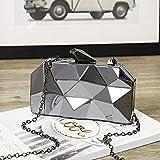 Mdsfe Bolso de Embrague geométrico de Caja acrílica Dorada Bolso de Cena Bolso de Mujer Elegante con Cadena - Gris Oscuro