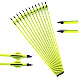 28' Arrows 500 Spine Arrows for Compound Bows ID 6.2 mm 27/28/28.5/29/30 Inch Replaceable Tip Carbon Arrow for 20/25/30/35/40/45/50/55/60/65 Lbs Recurve Bow Longbow Archery Hunting Target Practice