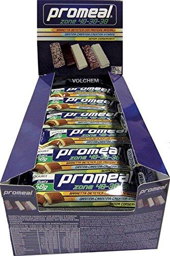 Promeal Zone 40-30-30 - Volchem -BARRETTA Dieta A Zona- 36 Barrette da 26g Gusto Cacao - Fondente/Dark