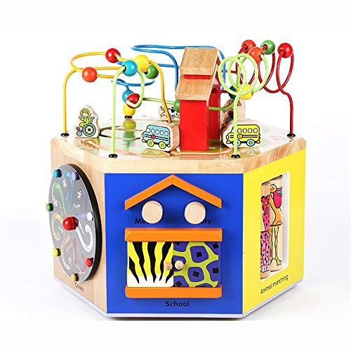 Abacus Toy Multi-funcional caja del tesoro juguetes educativos con cuentas de madera regalo de múltiples funciones de inteligencia grandes de los granos redondos de madera de niños Juguetes ed