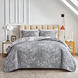 3 Piece Reversible Quilt Set Gray White Branch with Yellow Dots Queen Size 88x88 Soft Microfiber Lightweight Summer Coverlet Bedspread for All Season (1 Quilt+ 2 Shams)
