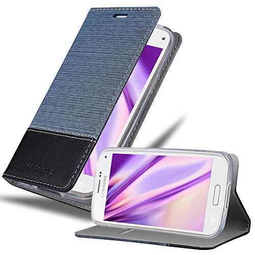 Cadorabo Custodia Libro per Samsung Galaxy S5 Mini / S5 Mini DUOS in Azzurro Scuro Nero - con Vani di Carte, Funzione Stand e Chiusura Magnetica - Portafoglio Cover Case Wallet Book Etui Protezione
