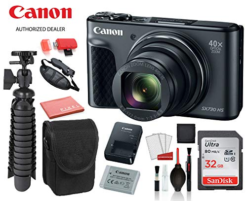 Canon PowerShot SX730 HS Digital Camera (Black) (1791C001) with Accessory Bundle Package SanDisk 32gb SD Card + Camera Case + 12' Tripod + More