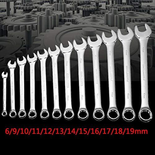DFYYQ 6,7,8,10,12,13,14,17,19mm Ratschenschlüssel Spanner Set Bike Handwerkzeuge for Auto-Auto-Reparatur-Kit Set Schraubenschlüssel Chrom-Vanadium (Size : 12Pcs)