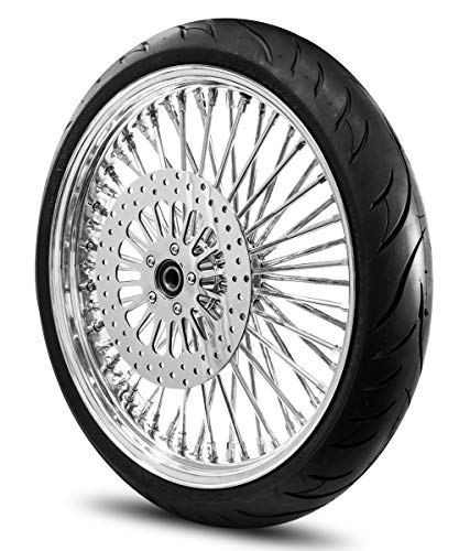 21X3.5 52 Fat Spoke Wheel for Harley Softail 2007-Above Models (No ABS) w/Tire & Rotor (w/bolts) (All Chrome & Black Wall Tire)