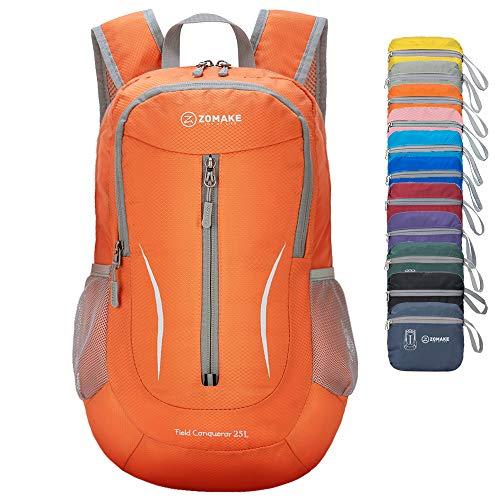ZOMAKE Sac à Dos Petit 25L, Sac à Dos Pliable Léger, Sac de Randonnée pour Homme Femme Sports et Plein air (Orange)