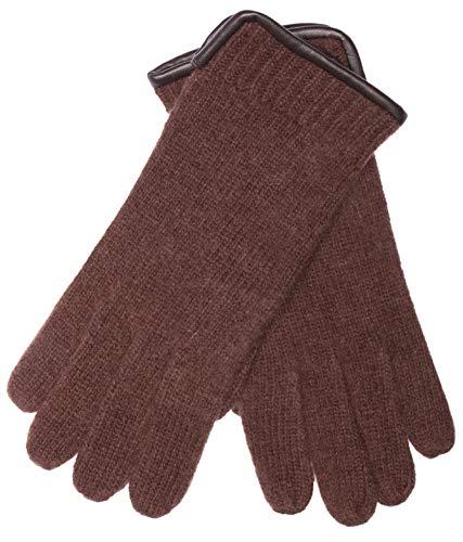 EEM Herren Walk-Handschuhe SÖREN aus 100% gekämmter/gewalkter Schurwolle mit ledernem Saum Dunkelbraun L/XL