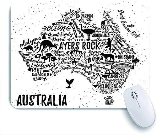 Dekoratives Gaming-Mauspad,Typografie Australien poster,Bürocomputer-Mausmatte mit rutschfester Gummibasis