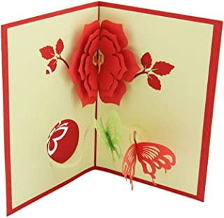 IShareCards Handmade 3D Pop Up Greeting Cards for Every Occasion (Flower with Butterflies)